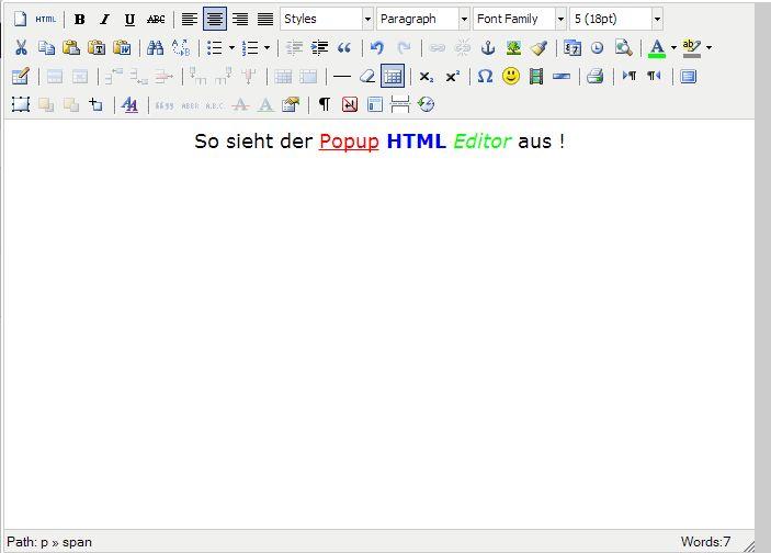 HTML Popup Editor
